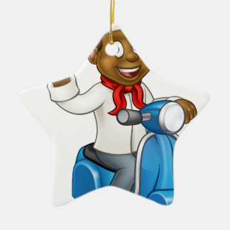 Cartoon Delivery Moped Chef Ceramic Star Decoration