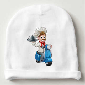 Cartoon Delivery Moped Scooter Chef Baby Beanie