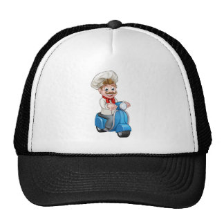 Cartoon Delivery Moped Scooter Chef Cap
