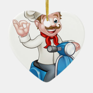 Cartoon Delivery Moped Scooter Chef Ceramic Heart Decoration