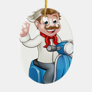 Cartoon Delivery Moped Scooter Chef Ceramic Oval Decoration