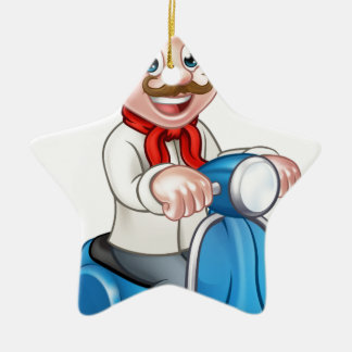 Cartoon Delivery Moped Scooter Chef Ceramic Star Decoration