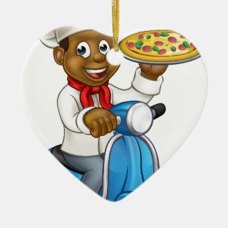 Cartoon Delivery Scooter Pizza Chef Ceramic Heart Decoration