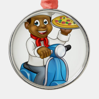 Cartoon Delivery Scooter Pizza Chef Silver-Colored Round Decoration