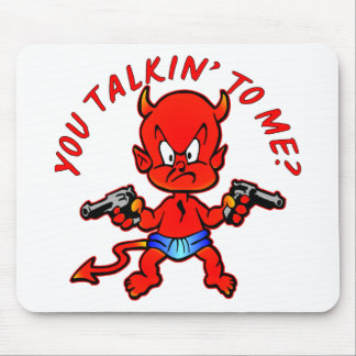 Cartoon Devil Pistol Shooter You Talkin' To Me Mousepads