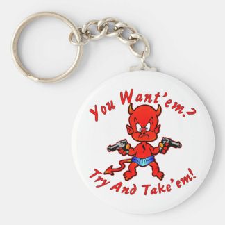 Cartoon Devil Pistol Shooter You Want'em Try Basic Round Button Key Ring