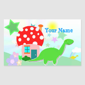 Cartoon Dino & Mushroom House Name Sticker