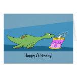 Cartoon Dinosaur Birthday Greeting Card