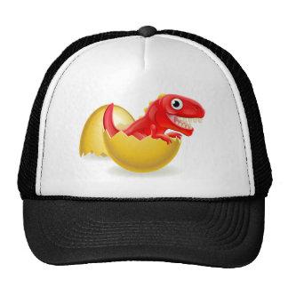 Cartoon Dinosaur Hatching from Egg Cap