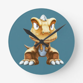 Cartoon Dinosaur Round Clock