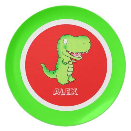 cartoon dinosaur T-rex for kids Plate