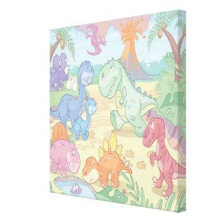 Cartoon Dinosaur Wrapped Canvas Gallery Wrap Canvas