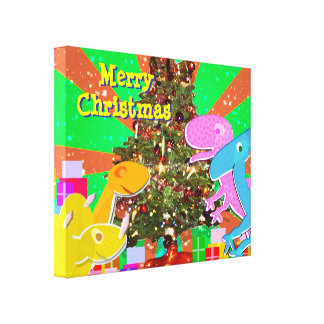 Cartoon Dinosaurs by the Christmas Tree Canvas Canvas Print
