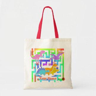 Cartoon Dinosaurs in Rainbow Color Maze Gifts Bag