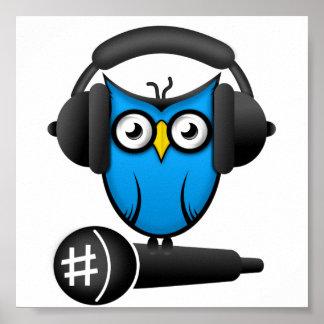 Cartoon DJ OWL Poster