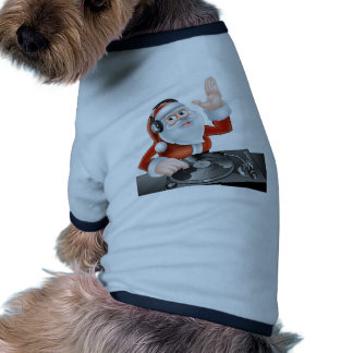 Cartoon DJ Santa Ringer Dog Shirt