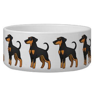 Cartoon Doberman Pinscher (floppy ears) Dog Food Bowl