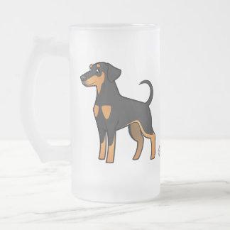 Cartoon Doberman Pinscher (floppy ears) Frosted Glass Beer Mug