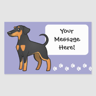 Cartoon Doberman Pinscher (floppy ears) Rectangular Sticker