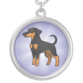 Cartoon Doberman Pinscher (floppy ears) Silver Plated Necklace