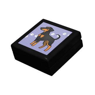 Cartoon Doberman Pinscher (floppy ears) Small Square Gift Box
