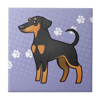 Cartoon Doberman Pinscher (floppy ears) Small Square Tile