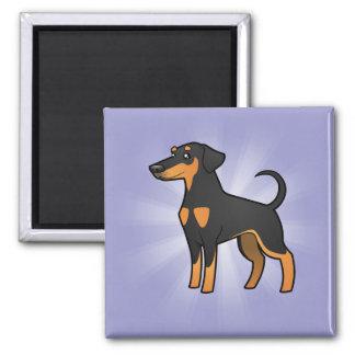 Cartoon Doberman Pinscher (floppy ears) Square Magnet