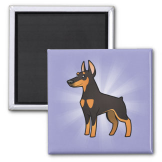 Cartoon Doberman Pinscher (pointy ears) Square Magnet