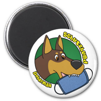 Cartoon Doberman Schutzhund 6 Cm Round Magnet