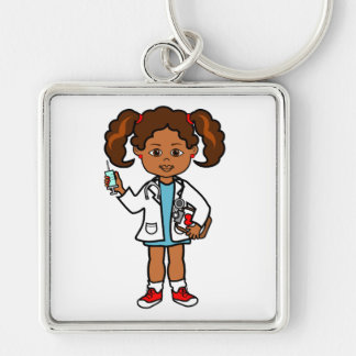 Cartoon Doctor Girl with Big Needle and Clipboard Silver-Colored Square Key Ring