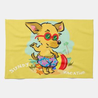 CARTOON DOG AT THE BEACH, VACATION KITCHEN TOWEL