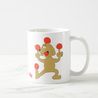 Cartoon Dog Balancing Balls Basic White Mug
