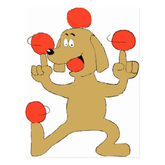 Cartoon Dog Balancing Balls Postcard