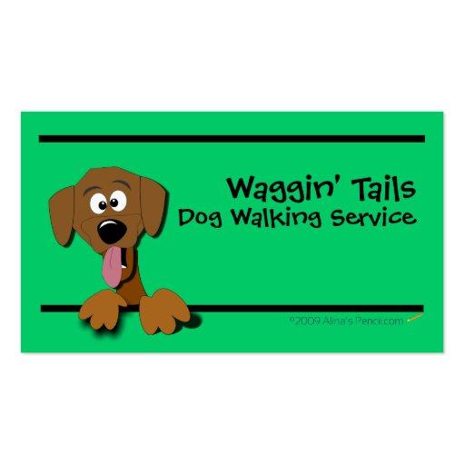 Cartoon Dog Business Card Template (green)