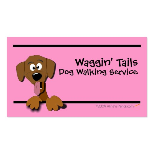 Cartoon Dog Business Card Template (pink)