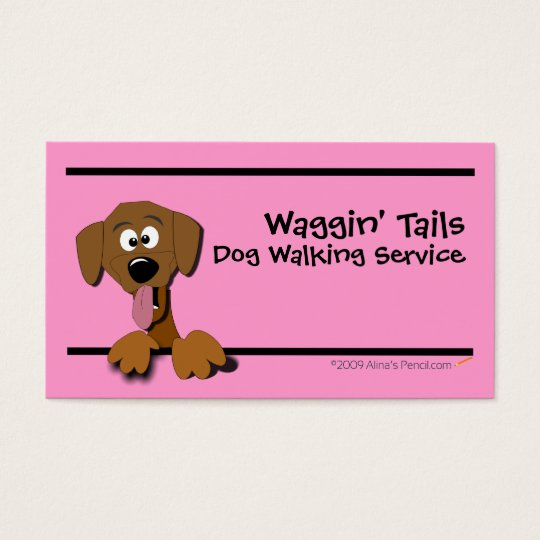 Cartoon Dog Business Card Template (pink)