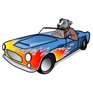 Cartoon Dog Driving a Car Photo Cut Outs