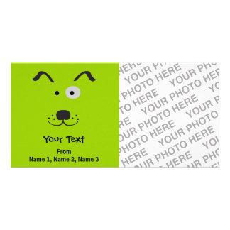 Cartoon Dog Face Illustration Customised Photo Card