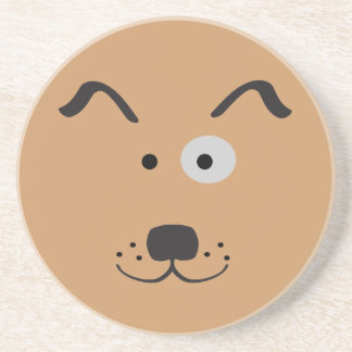 Cartoon Dog Face Illustration Drink Coaster
