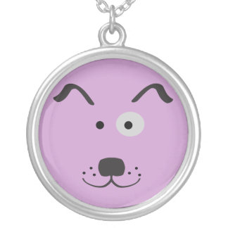 Cartoon Dog Face Illustration Silver Plated Necklace