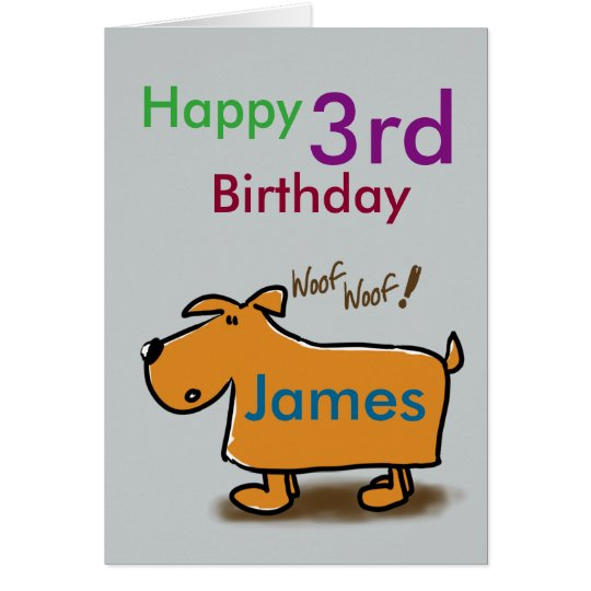 Cartoon dog happy 3rd birthday name card