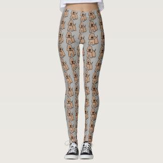 Cartoon dog pattern on gray background leggings