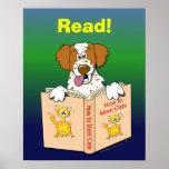 Cartoon Dog Read Funny School Educational Reading Poster