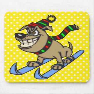 Cartoon Dog Snow Skiing Mousepads