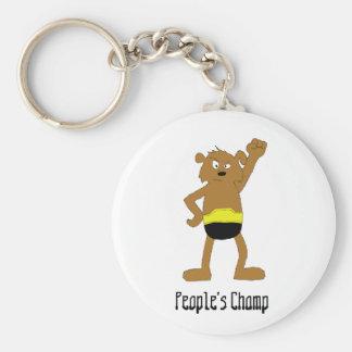 Cartoon Dog The Rock Wrestling Fan Key Chain