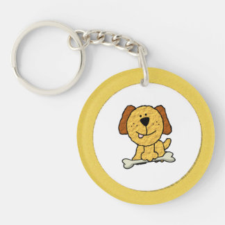 Cartoon Dog with a Bone on Yellow Single-Sided Round Acrylic Key Ring