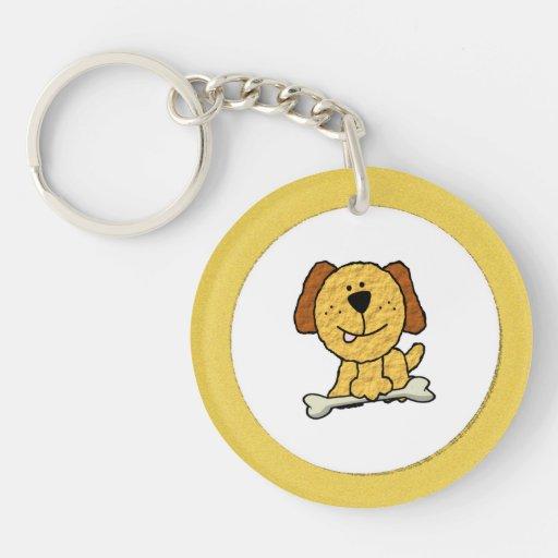 Cartoon Dog with a Bone on Yellow Key Chains