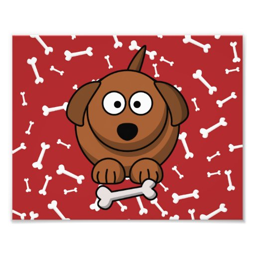 Cartoon Dog with Bones and Red Background Art Photo