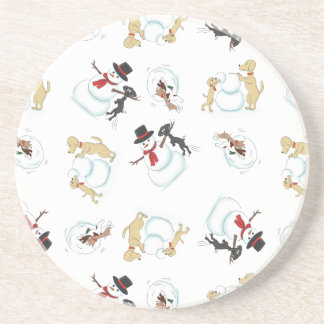 Cartoon Dogs Playing In Snow Coasters