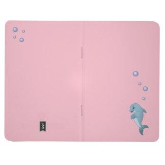 Cartoon Dolphin & Bubbles, Pink Pocket Notebook